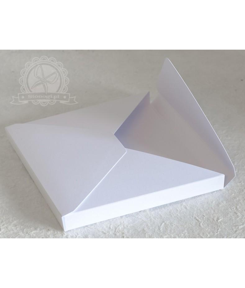 Pudełko koperta 3D białe - na kartkę kwadratową 15x15 cm