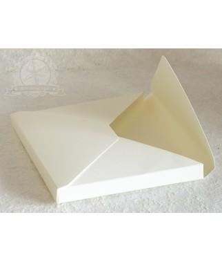 Pudełko koperta 3D kremowe - na kartkę kwadratową 15x15 cm