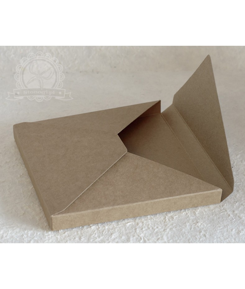 Pudełko koperta 3D kraft - na kartkę kwadratową 15x15 cm