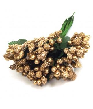 Bukiecik dekoracyjny złoty