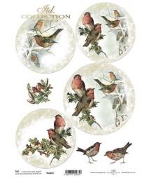 Przekładki do mbombek akrylowych - zimowe ptaszki