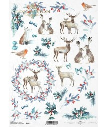 Papier ryżowy do decoupage, Święta w lesie R1629
