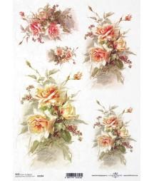 Papier ryżowy do decoupage, Herbaciane róże R1204