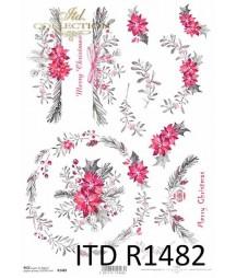 Papier ryżowy do decoupage, Świąteczne bukiety R1482