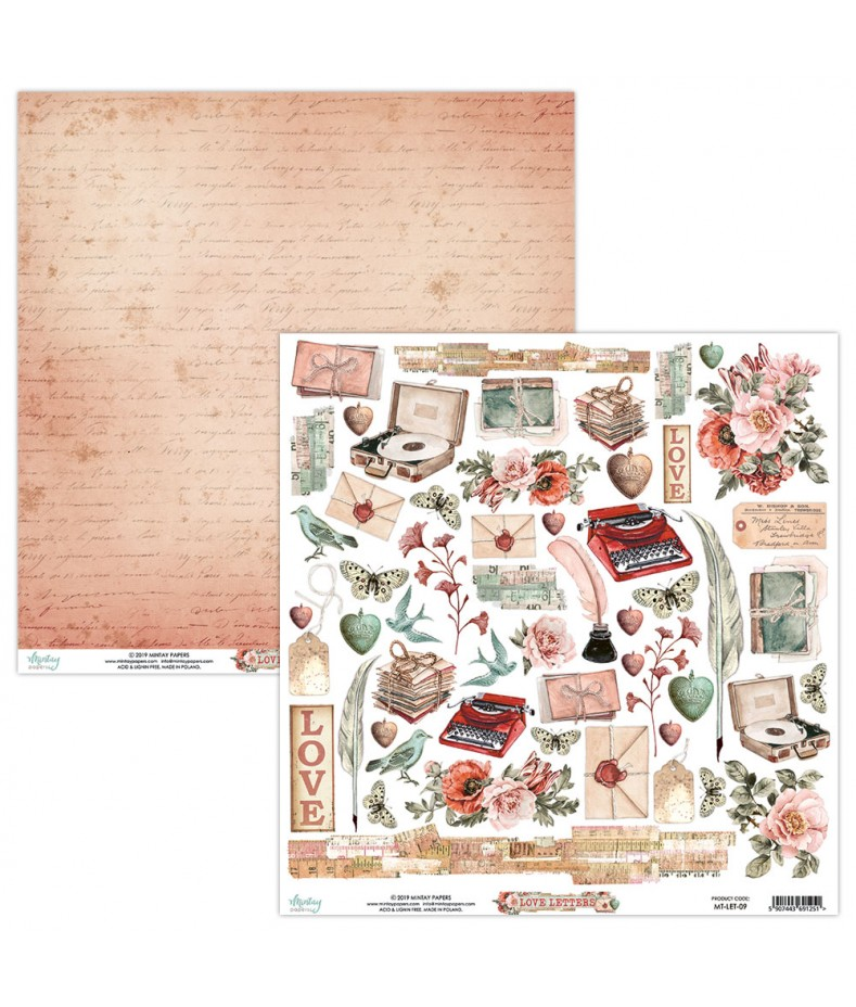 Papier do scrapbookingu Love Letters 09 - arkusz dodatków - Mintay by Karola Witczak