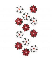 Samoprzylepne poinsecje brokatowe białe i czerwone DP Craft