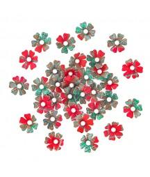 Kwiatki papierowe do scrapbookingu, Świąteczny mix 32 szt. CEKP-047