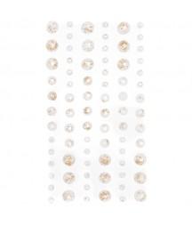 Kryształki do scrapbookingu, białe ze złotymi drobinkami GRKR-070
