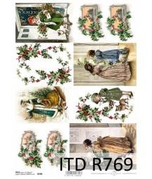 Papier ryżowy do decoupage A4, Świąteczne obrazki ITD R0769