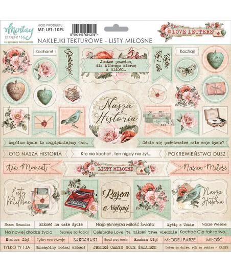 Arkusz naklejek do scrapbookingu 12x12, Love Letters - Mintay Papers