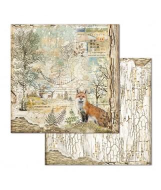 Papier do scrapbookingu 12x12, Stamperia - Forest SBB656 - lisek