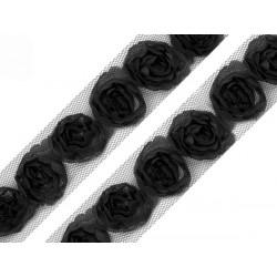 Różyczki na tiulu, czarne,...