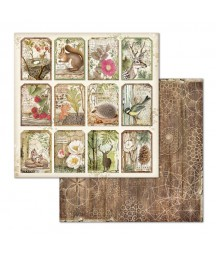 Papier do scrapbookingu 12x12, Stamperia - Forest SBB660 - leśne tagi