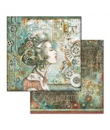 Papier do scrapbookingu 12x12, Stamperia - Mechanical Sea World - kobieta