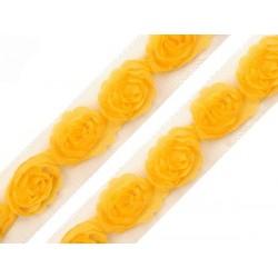 Różyczki na tiulu, żółte, 1 mb