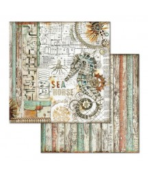Papier do scrapbookingu 12x12, Stamperia - Mechanical Sea World - konik morski