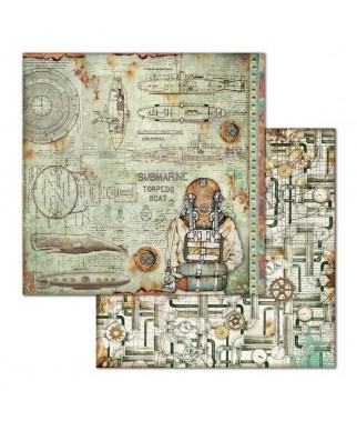 Papier do scrapbookingu 12x12, Stamperia - Mechanical Sea World - nurek