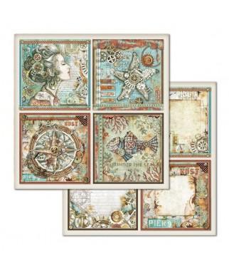Papier do scrapbookingu 12x12, Stamperia - Mechanical Sea World - morskie opowieści