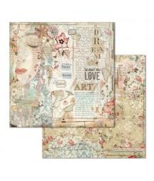 Papier do scrapbookingu 12x12, Stamperia - Imagine - Love Art SBB667