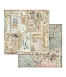 Papier do scrapbookingu 12x12, Stamperia - Imagine - Twarze i napisy SBB668