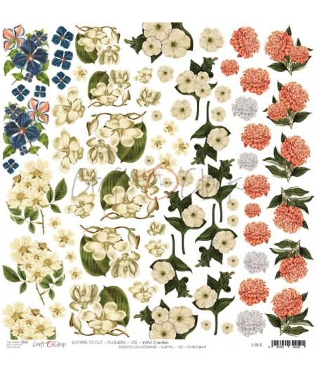 Arkusz do scrapbookingu Craft O'Clock Kwiatki VIII