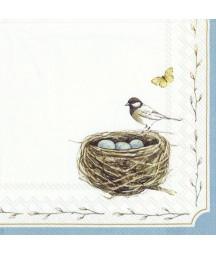 Serwetka do decoupage - Sikorka przy gnieździe