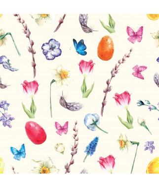 Serwetka do decoupage - Symbole Wielkanocy - bazie wiosenne kwiaty piórka