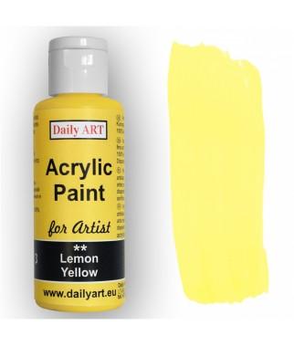 Farba akrylowa dla artystów, lemon yellow - cytrynowa, 50 ml - Daily Art