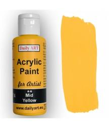Farba akrylowa dla artystów, mid yellow - żółta, 50 ml - Daily Art