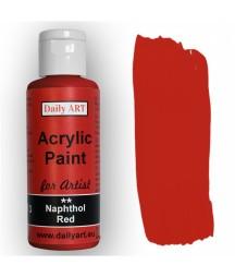 Farba akrylowa dla artystów, naphthol red - czerwień naftolowa, 50 ml - Daily Art