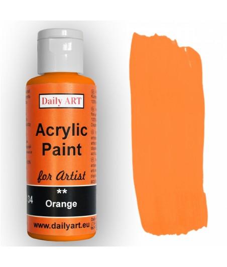 Farba akrylowa dla artystów, orange - pomarańczowa, 50 ml - Daily Art