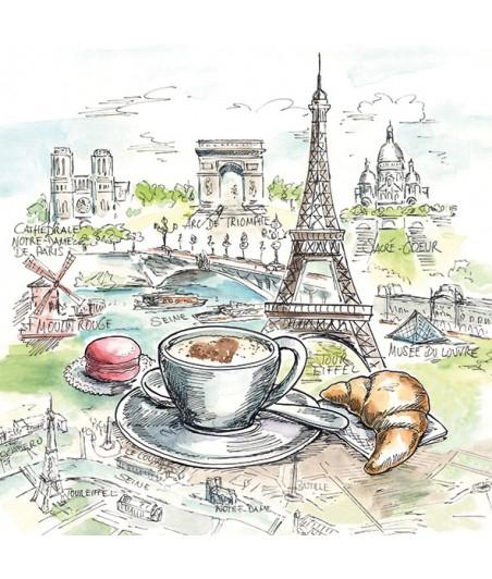 Serwetka do decoupage - Francuskie śniadanie