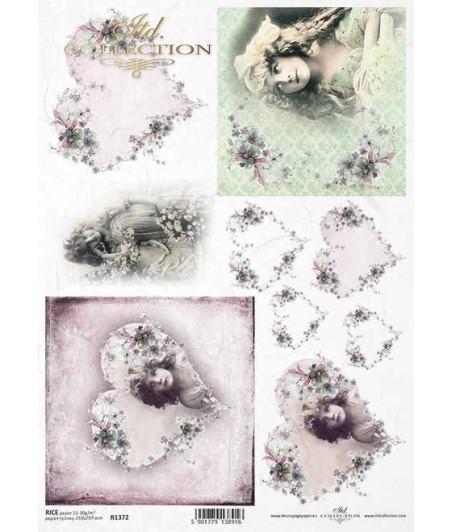 Papier ryżowy do decoupage, Dziewczyny w sercach vintage, ITD Collection R1372