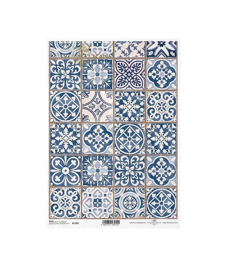 Papier ryżowy do decoupage, Portugalskie kafelki azulejos, ITD Collection R1380