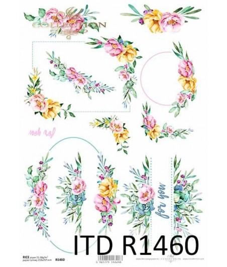 Papier ryżowy do decoupage, Ukwiecone ramki z napisem forr you, ITD Collection R1460