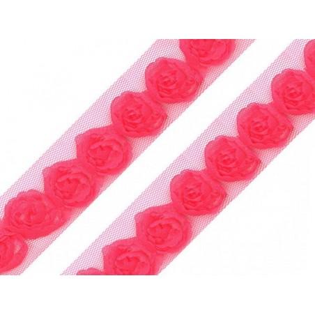 Różyczki na tiulu, fuksja [17], 1 m