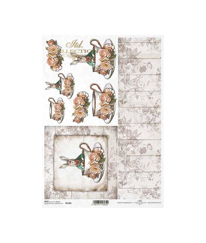 Papier ryżowy do decoupage, Wielkanocny królik w filiżance ITD Collection R1580