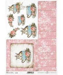Papier ryżowy do decoupage, Wielkanocne króliki w filiżance - różowa tapeta ITD Collection R1581