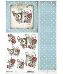 Papier ryżowy do decoupage, Zakochane króliki w filiżance - niebieska tapeta ITD Collection R1583