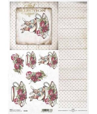 Papier ryżowy do decoupage, Króliki w filiżance - biała tapeta ITD Collection R1585
