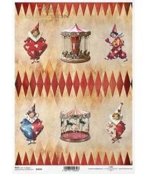 Papier ryżowy do decoupage, Cyrkowe klauny i karuzele ITD Collection R1650