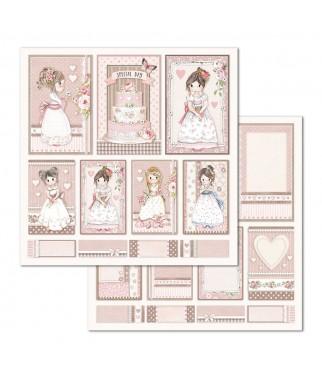 Stamperia SBBL67 Little Girl - przykładowy papier z bloczka do scrapbookingu
