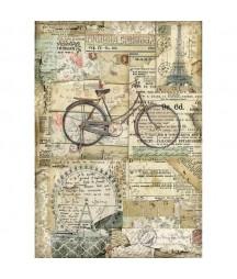 Papier ryżowy Stamperia A4 - Dookoła świata - rower DFSA4458