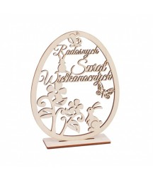 Wielkanocna dekoracja - jajko z życzeniami na podstawce