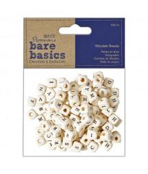 Drewniane koraliki z alfabetem do scrapbookingu i handmade 100 szt.