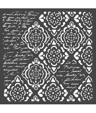 Szablon do past strukturalnych i decoupage, Stamperia - tło pismo i duże ornamenty KSTDQ36