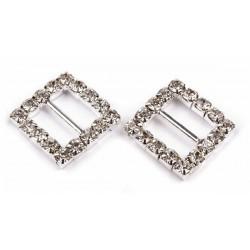 Klamra ozdobna na wstążkę, kwadratowa z kryształkami, 1 szt.