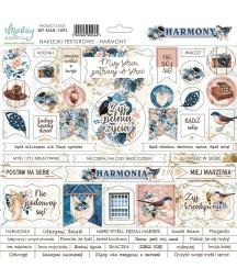 Arkusz tekturowych naklejek do scrapbookingu z kolekcji Harmony, Mintay Papers