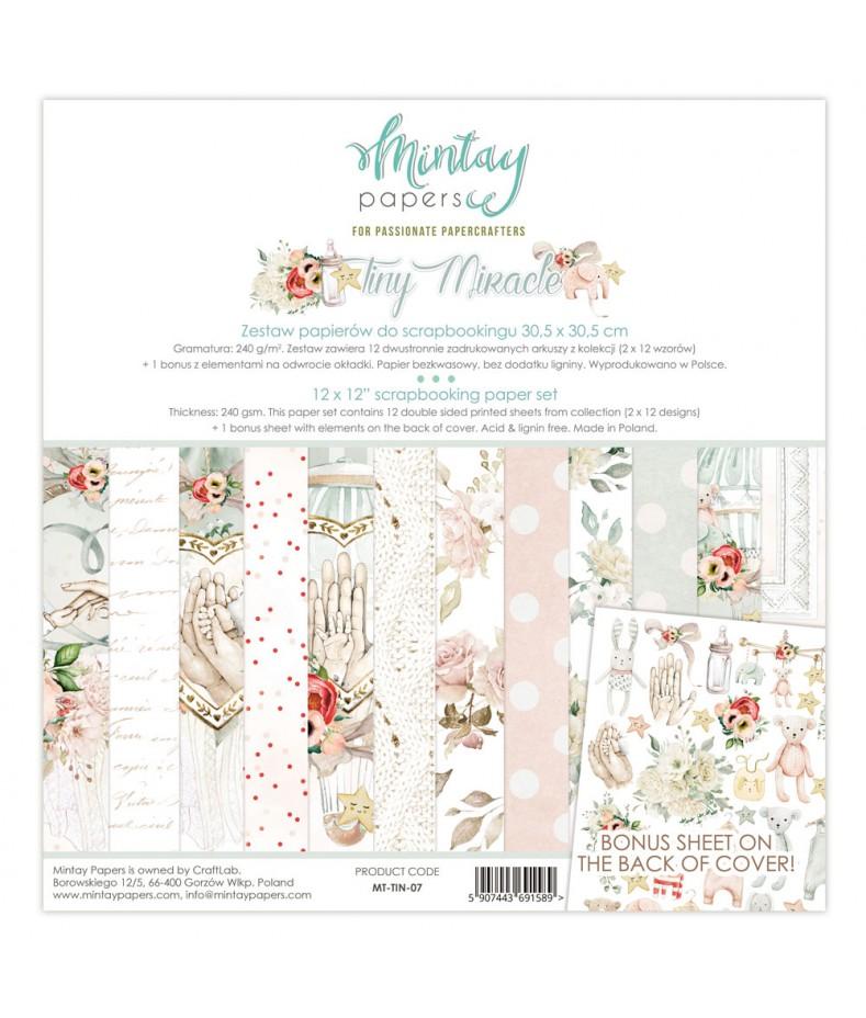 Zestaw papierów do scrapbookingu 30x30 Tiny Miracle - Mintay Papers