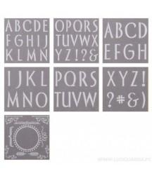 """Zestaw szablonów z literami alfabetu 12x12"""" DecoArt, Initial Impressions - Sleek PYI103, 7 szt."""